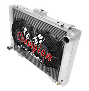 """4 Row Ace Champion Radiator W/ 2 10"""" Fans for 1964 Ford Galaxie 500XL"""