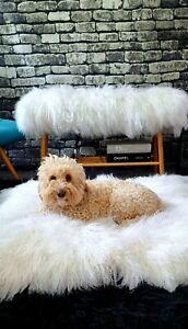 Fur Bench/Ottoman with Storage Shelf, White. 100% Mongolian Long Sheep Fur.