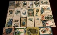 Lot of~25~FLOWERS~Blue~FORGET-ME-NOTS~Antique greeting~Postcards-in Sleeves-b499