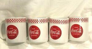 4 Gibson Coca - Cola Pop Shop Red Checkered Coffee / Tea Mugs  NOS / NEW