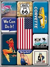 Americana Images set of 9 mini fridge magnets in box    (na)