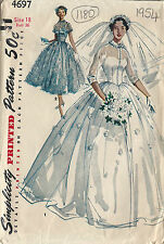 1954 Vintage Sewing Pattern B36 BRIDAL GOWN & BRIDESMAID DRESS (1180)