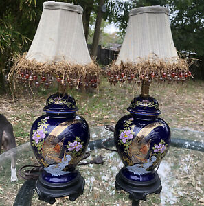 Pair Set 2 Asian Ginger Jar Cobalt Urn Lamps Gold Bird Floral Wood Base Shades