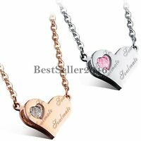 Soul Mate Stainless Steel Heart Charm Pendant Necklace Love Gift for Gilrfriend