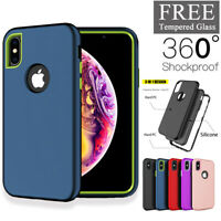 For iPhone 7 8 /Plus X XR XS Max 360 Shockproof Case Cover + Free Tempered Glass