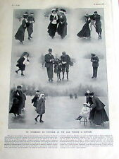PATINAGE SUR GLACE / PARIS 1908 /  SC 358 /   ILLUSTRATION ANCIENNE