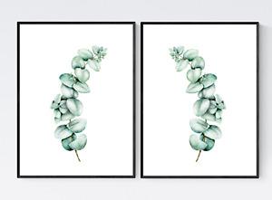 Set of 2 Eucalyptus Leaves Prints - Tropical Leaves Print, Botanical Print