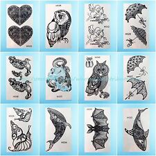 US Seller- 12 sheets wholesale cute black henna lace temporary tattoo for Adults