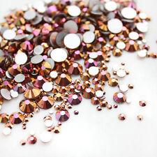 Rose Gold Nail Art Rhinestones FlatBack Glitter Crystal Gems Tips DIY Decoration
