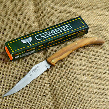 Cudeman Classic Olive Wood Handle Folding Knife 420 Stainless Clip Blade 453L
