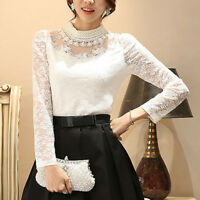 Women Slim Fit Lace Beaded Blouse Pierced Long Sleeve Pullover Tops OL T Shirt