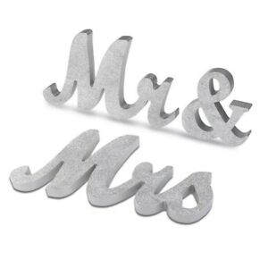 Large Size Mr & Mrs Glitter Silver Table Sign Table Standing Top High Quality