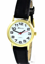 Ravel Mujer Audaz grandes números reloj de mujer con carcasa de oro Correa Negra