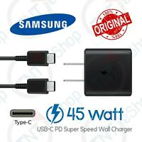 Original Samsung Galaxy 45 Watt USB-C PD Super Fast Charge Adapter Type-C Cable