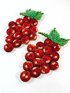 Mid-Century Knitted Cherry Cherries Pot Holder Trivet Oven Mitts