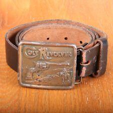 Colt Revolver Belt Buckle & Brown Leather Belt