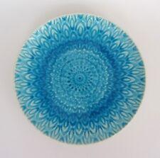Roscher Peacock Collection Aqua Blue Crackle Glaze Stoneware Salad Plates SET 4