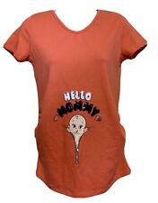 LC Waikiki Maternity Coral Orange V-Neck Hello Mommy T-shirt Women Size Small
