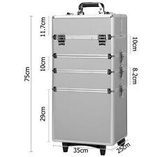 4 in 1 Pro Aluminum Rolling Makeup Case Salon Cosmetic Organizer Trolley Silver