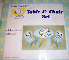 Kids Peanuts Baby Snoopy Play Table & 2 Chairs, Child Nursery Wood Furniture
