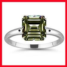 1.78 ct vs1/BROWN EMERALD MOISSANITE & NATURAL BLACK DIAMOND.925 SILVER RING