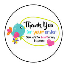 "30 1.5"" THANK YOU BIRD HEART FAVOR LABELS ROUND STICKERS*"