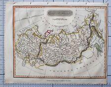 1822 antique map Russie empire russe à la main couleur