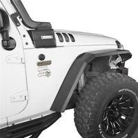 Flat Style Front + Rear Fender Flares Textured Steel For Jeep Wrangler JK 07-18