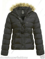 NEW WOMENS QUILTED COAT PADDED FUR HOODED LADIES JACKET PARKA SIZE 8 10 12 14 16