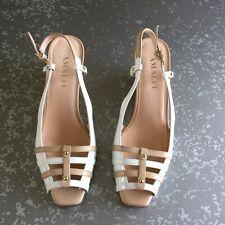 Amalfi By Rangoni Wedges Open Toe Sling Back Sandal Shoe White Italy 9 1/2 N
