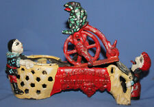 1875 PATENT STEVENS CO J& E CAST IRON BANK PROFESSOR PUG FROG GREAT BICYCLE FEAT