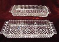 2 Vintage Herringbone Pressed Glass Celery Relish Dishes 1950s AS IS (O)