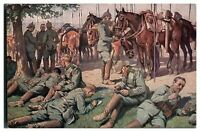 Antique WW1 German military postcard soldiers and horses resting