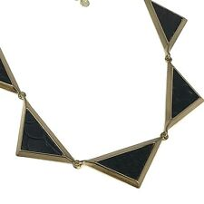 HOUSE OF HARLOW 1960 Necklace Black Geometric Triangle Pendants Gold Tone Signed