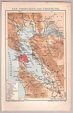 United States, USA - Alte Karte San Francisco u. Umgebung - Lithographie 1904