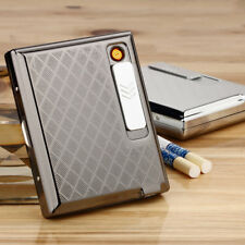Metal Cigarette Case Holder W/USB Lighter Electronic Rechargeable Windproof AB