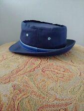 Bucket Hat Cap Hunting Fishing Medium Navy Blue Roll Up YA Vintage