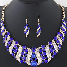 1Set Women Rhinestone Crystal Spiral Pendant Choker Bib Necklace Chain Earring
