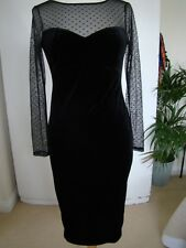 OASIS BLACK VELVET AND NET SWEETHEART NECKLINE WIGGLE DRESS SIZE S BNWT