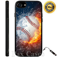 Ice Fire Powerful Baseball Case For iPhone 4/4S/5/5S/5C/6/6+Galaxy S4/S5-RUBBER