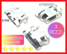 3 PZ CONNETTORI RICARICA Micro USB 5 -PIN 4 FISSAGGI Verticali TABLET SMARTPHONE