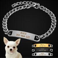 Collar Para Perro, con Placa Identificativa Grabada, Nombre Y Teléfono, Cadena