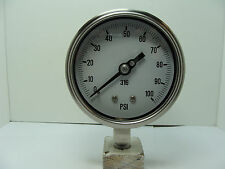"""301D-404E 4"""" Dry/Fillable Stainless Steel Gauge 1/4"""" NPT LM 0/100 psi"""