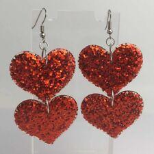 Double Red Huge Heart Glitter Charms Acrylic Earrings D204 Kitsch Fun 8cm Long