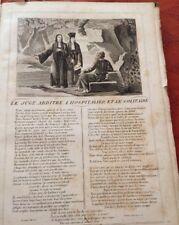 LA FONTAINE. LE JUGE ARBITRE, L'HOSPITALIER ET LE SOLITAI. FABLE ET GRAVURE 1834