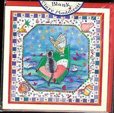 OWLand PUSSY CAT Sm. Greeting card LINDA EDWARDS/Clare Maddicott England Blank