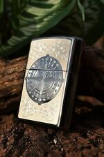 Zippo Lighter - Compass Rose - Black Ice - Etched - Engraved - Model # 41504