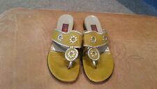 Vaneli Womens Gold (dark Yellow) Leather Flip Flops Size 9