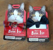 NEW 2x Bow Ties For Dog Pet Puppy Cat (one tartan, one black)