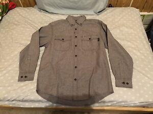 Wolverine Button Down Flannel Brown Grey Size Medium